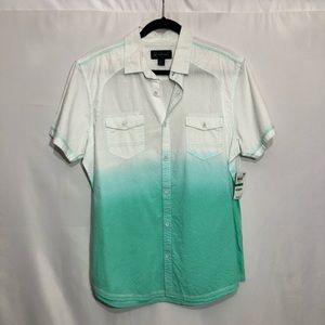 Aqua Ice & teal green ombre button down top